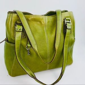 Fossil Green Genuine Leather HandBag Purse Satchel